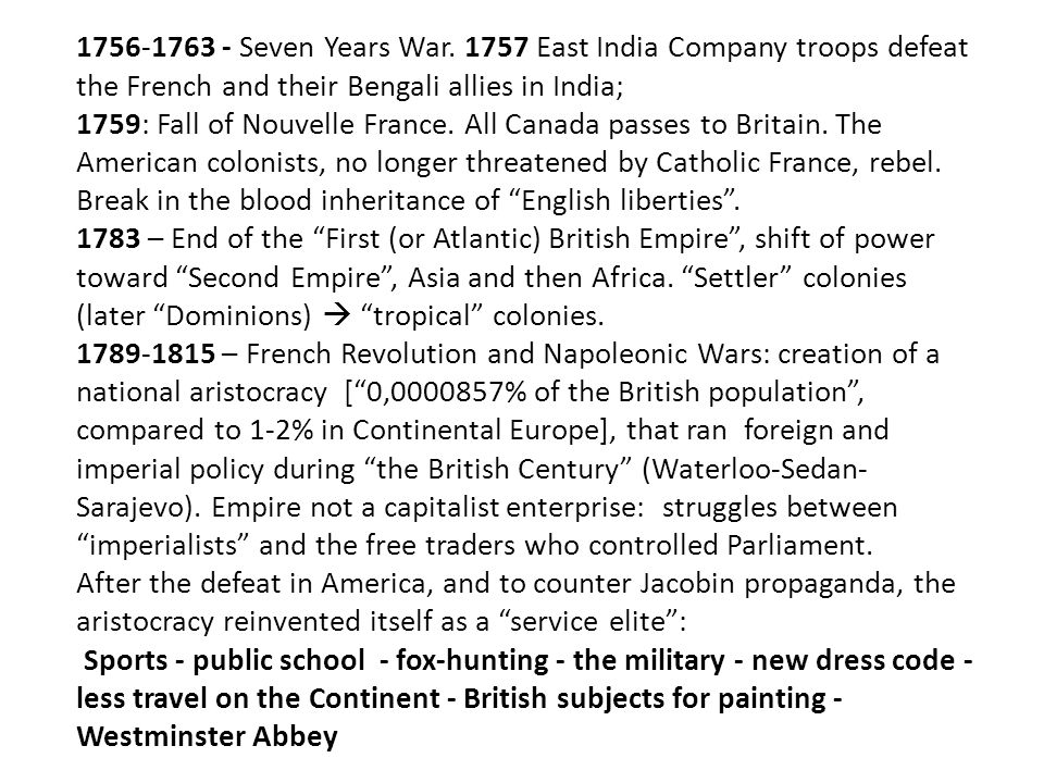1756-1763 - Seven Years War. 1757 East India Company troops defeat the French and their Bengali allies in India; 1759: Fall of Nouvelle France. All Ca