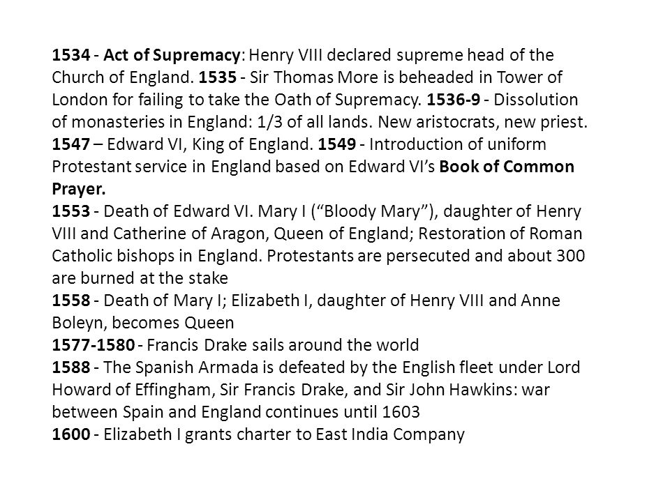 1534 - Act of Supremacy: Henry VIII declared supreme head of the Church of England. 1535 - Sir Thomas More is beheaded in Tower of London for failing