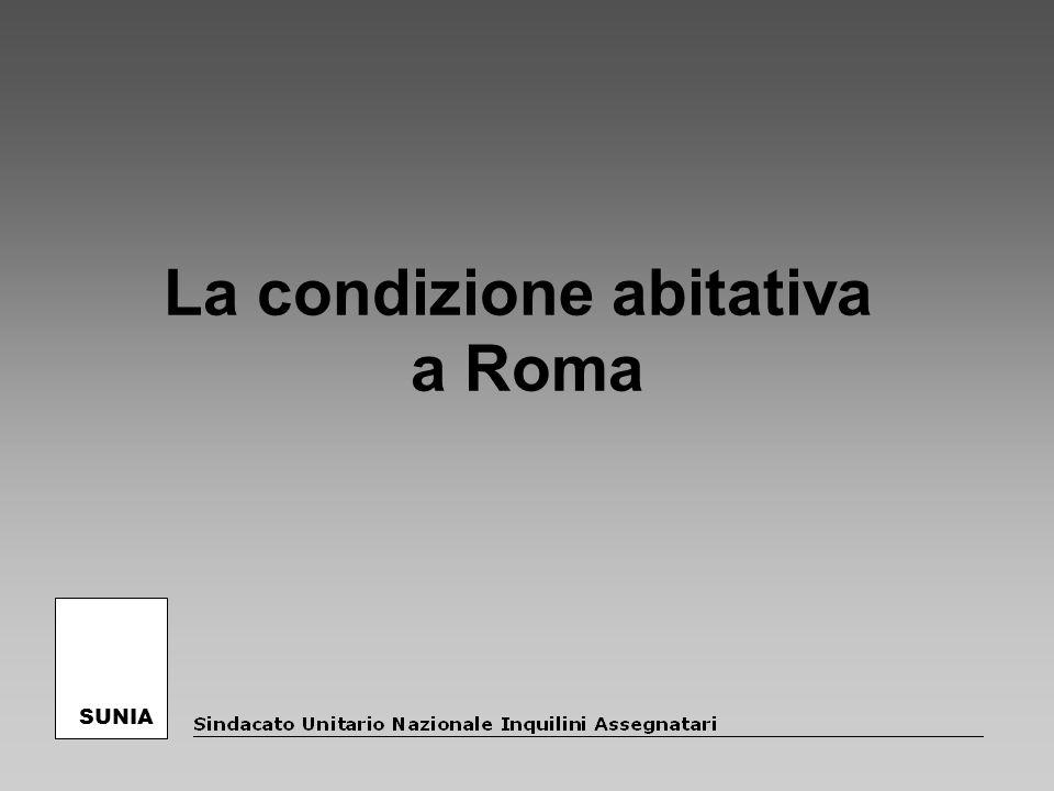 La situazione abitativa a Roma A Roma le famiglie in affitto sono più di 350.000 per un totale di quasi circa 900.000 persone e occupano il 25% delle abitazioni della città e l83% delle abitazioni in affitto dellintera regione (la maggior parte del patrimonio in affitto dellintero Lazio è concentrato a Roma).