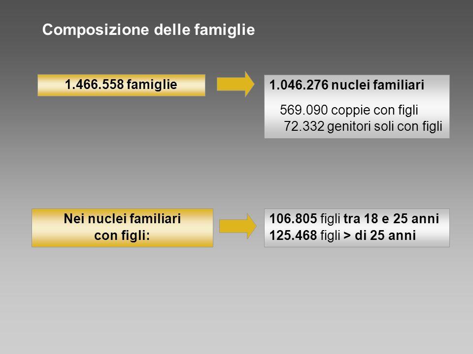 1.046.276 nuclei familiari 569.090 coppie con figli 72.332 genitori soli con figli 106.805 figli tra 18 e 25 anni 125.468 figli > di 25 anni 1.466.558