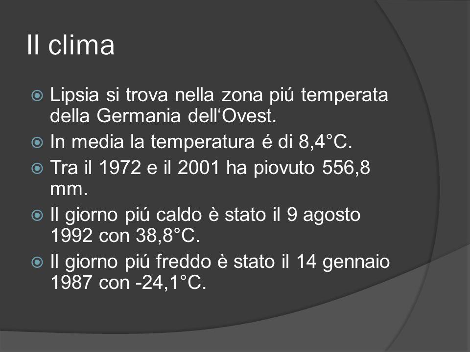 Il clima Lipsia si trova nella zona piú temperata della Germania dellOvest. In media la temperatura é di 8,4°C. Tra il 1972 e il 2001 ha piovuto 556,8