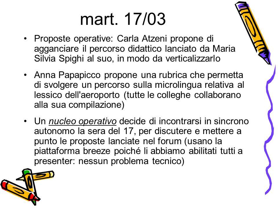 mart. 17/03 Proposte operative: Carla Atzeni propone di agganciare il percorso didattico lanciato da Maria Silvia Spighi al suo, in modo da verticaliz