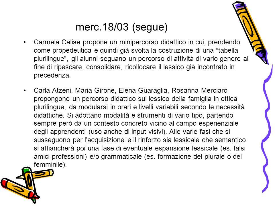 merc.18/03 (segue) Carmela Calise propone un minipercorso didattico in cui, prendendo come propedeutica e quindi già svolta la costruzione di una tabe