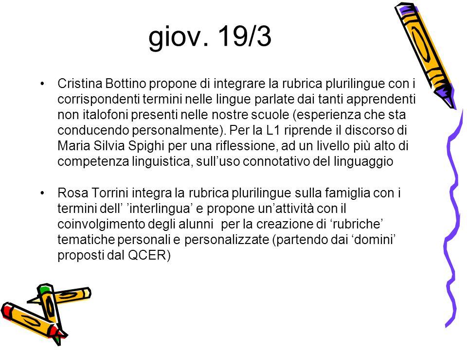 giov. 19/3 Cristina Bottino propone di integrare la rubrica plurilingue con i corrispondenti termini nelle lingue parlate dai tanti apprendenti non it