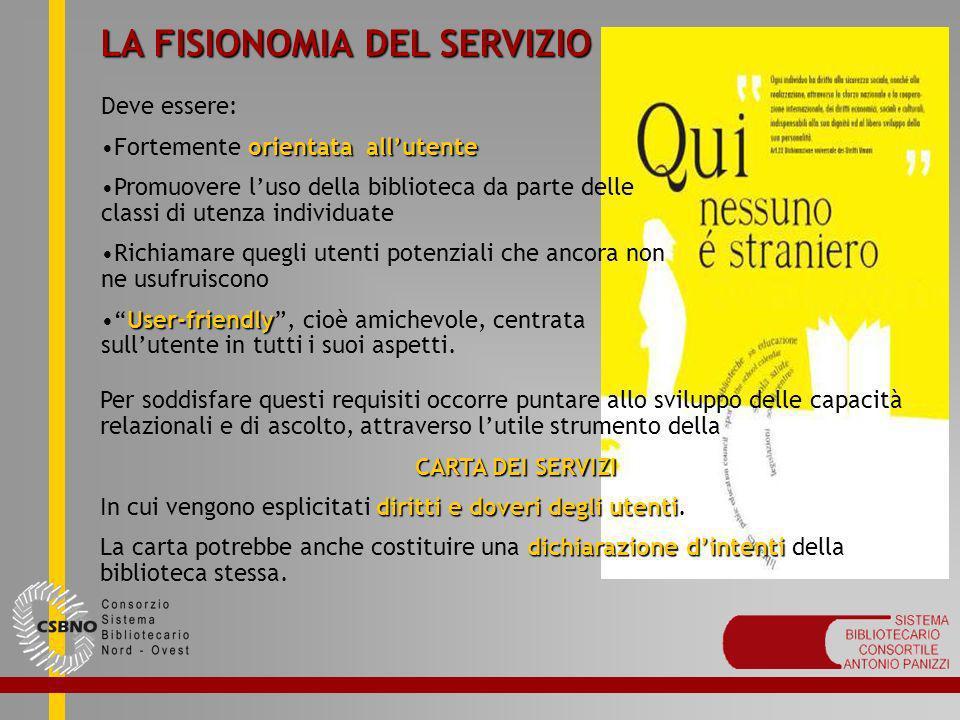 LA FISIONOMIA DEL SERVIZIO Deve essere: orientata allutenteFortemente orientata allutente Promuovere luso della biblioteca da parte delle classi di ut