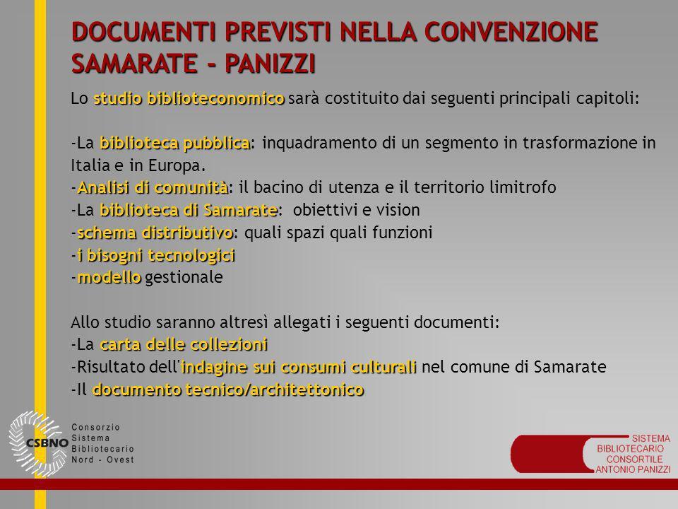 DOCUMENTI PREVISTI NELLA CONVENZIONE SAMARATE - PANIZZI studio biblioteconomico Lo studio biblioteconomico sarà costituito dai seguenti principali cap