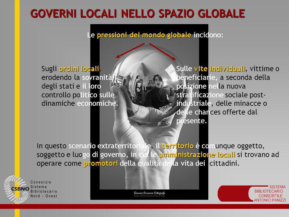GOVERNI LOCALI NELLO SPAZIO GLOBALE pressioni del mondo globale Le pressioni del mondo globale incidono: ordini locali Sugli ordini locali, erodendo l