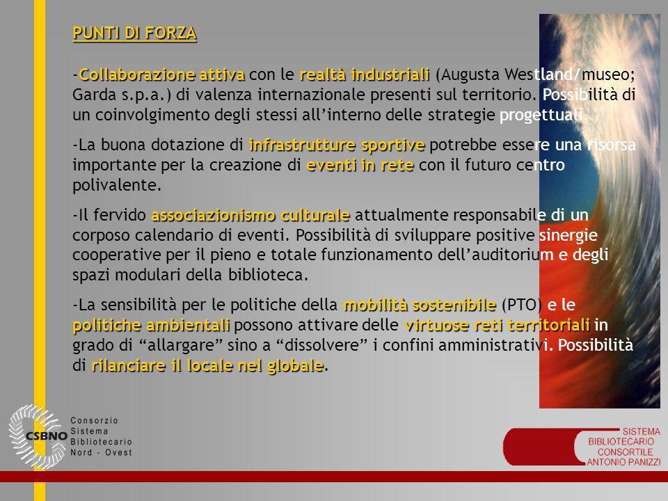 PUNTI DI FORZA Collaborazione attivarealtà industriali -Collaborazione attiva con le realtà industriali (Augusta Westland/museo; Garda s.p.a.) di vale