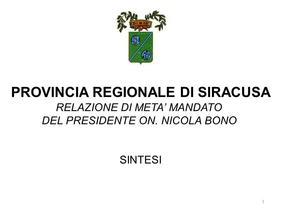 PROVINCIA REGIONALE DI SIRACUSA RELAZIONE DI META MANDATO DEL PRESIDENTE ON. NICOLA BONO SINTESI 1