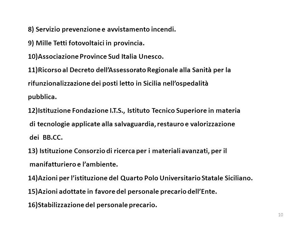 8) Servizio prevenzione e avvistamento incendi. 9) Mille Tetti fotovoltaici in provincia.