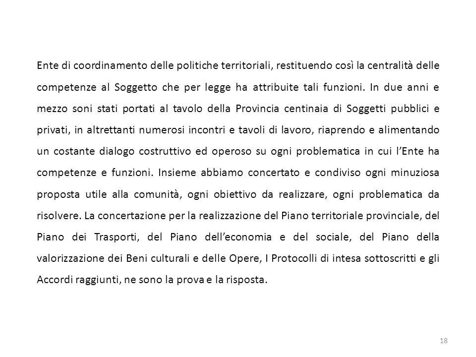 Ente di coordinamento delle politiche territoriali, restituendo così la centralità delle competenze al Soggetto che per legge ha attribuite tali funzioni.