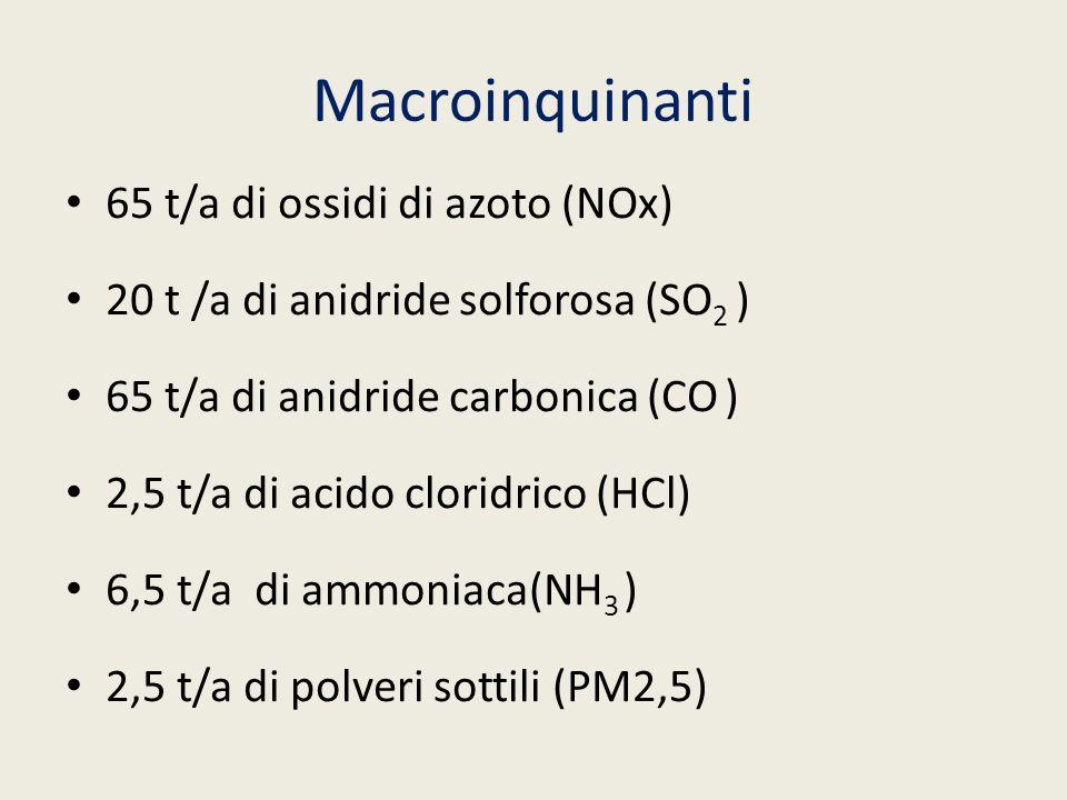 Macroinquinanti 65 t/a di ossidi di azoto (NOx) 20 t /a di anidride solforosa (SO 2 ) 65 t/a di anidride carbonica (CO ) 2,5 t/a di acido cloridrico (
