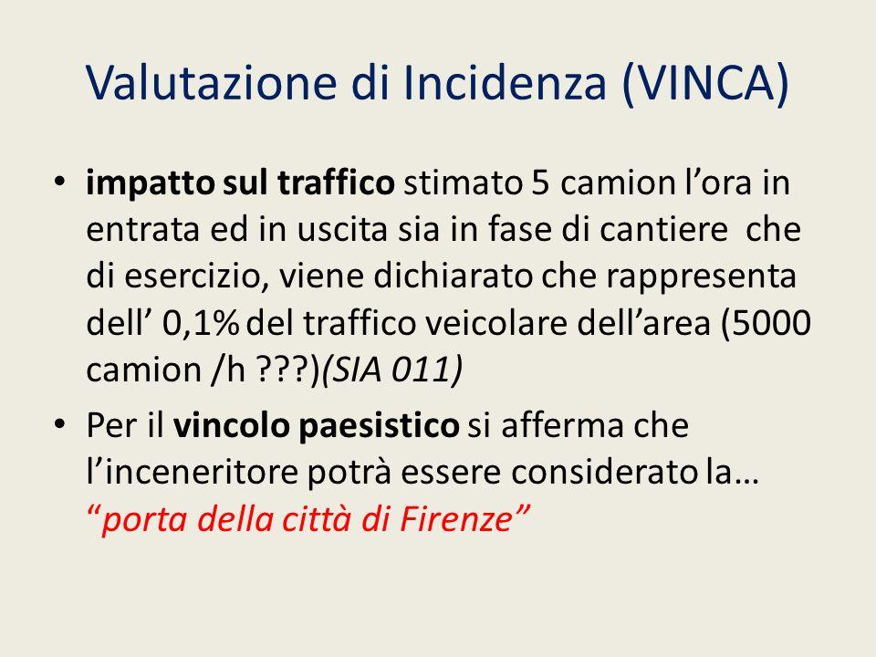 Valutazione di Incidenza (VINCA) impatto sul traffico stimato 5 camion lora in entrata ed in uscita sia in fase di cantiere che di esercizio, viene di