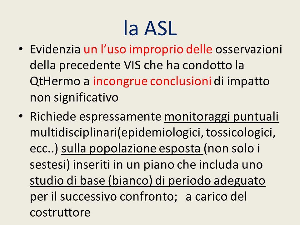 la ASL Evidenzia un luso improprio delle osservazioni della precedente VIS che ha condotto la QtHermo a incongrue conclusioni di impatto non significa