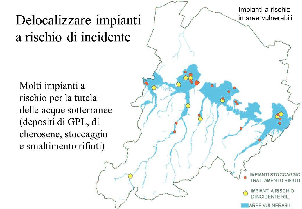Delocalizzare impianti a rischio di incidente Molti impianti a rischio per la tutela delle acque sotterranee (depositi di GPL, di cherosene, stoccaggi