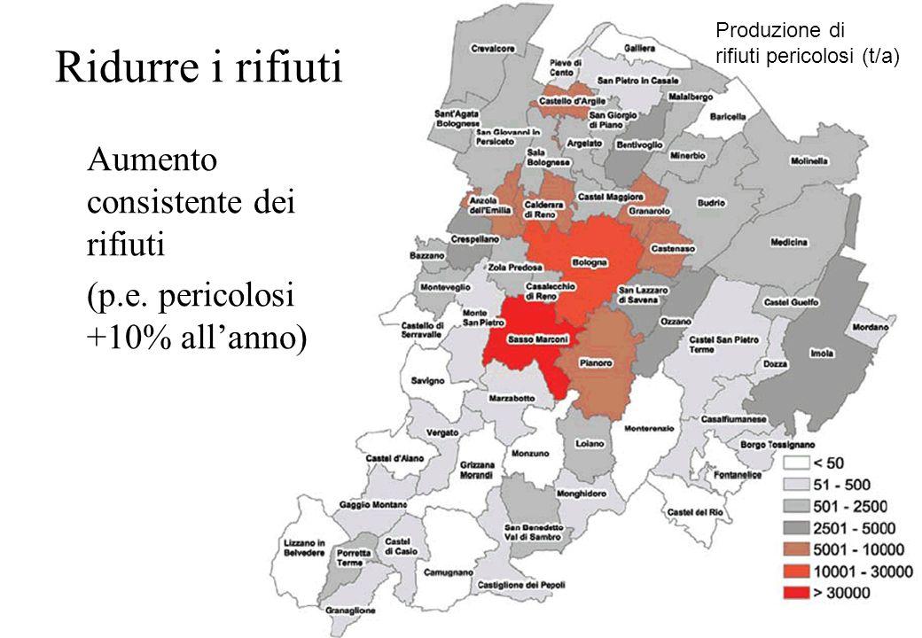 Aumento consistente dei rifiuti (p.e. pericolosi +10% allanno) Ridurre i rifiuti Produzione di rifiuti pericolosi (t/a)