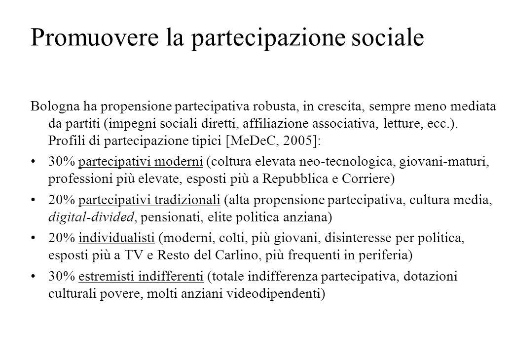 Promuovere la partecipazione sociale Bologna ha propensione partecipativa robusta, in crescita, sempre meno mediata da partiti (impegni sociali dirett