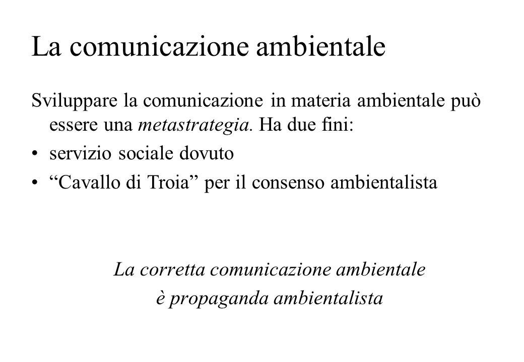La comunicazione ambientale Sviluppare la comunicazione in materia ambientale può essere una metastrategia. Ha due fini: servizio sociale dovuto Caval