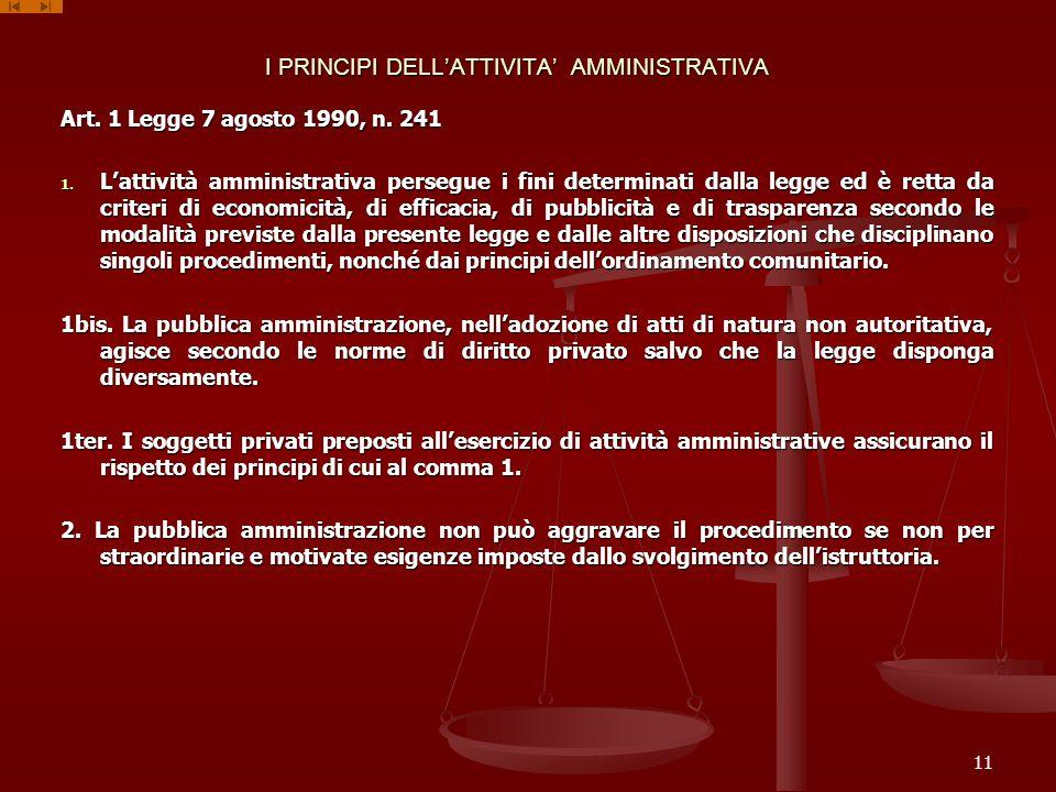I PRINCIPI DELLATTIVITA AMMINISTRATIVA Art. 1 Legge 7 agosto 1990, n. 241 1. Lattività amministrativa persegue i fini determinati dalla legge ed è ret