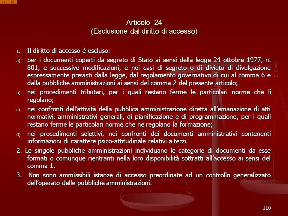 Articolo 24 (Esclusione dal diritto di accesso) 1. Il diritto di accesso è escluso: a) per i documenti coperti da segreto di Stato ai sensi della legg