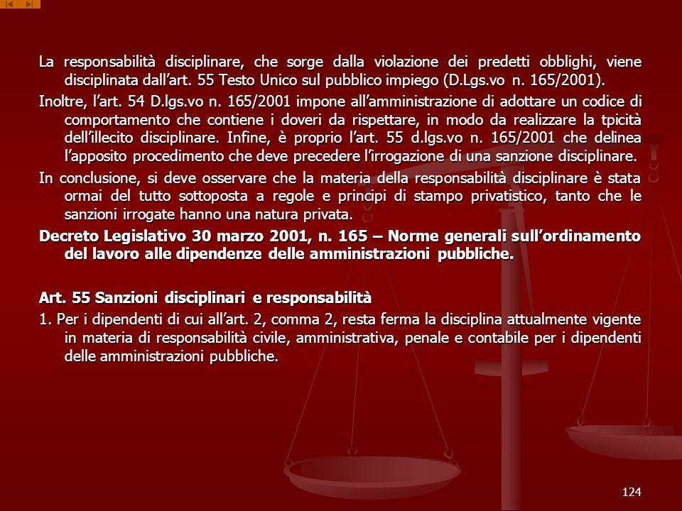 La responsabilità disciplinare, che sorge dalla violazione dei predetti obblighi, viene disciplinata dallart. 55 Testo Unico sul pubblico impiego (D.L