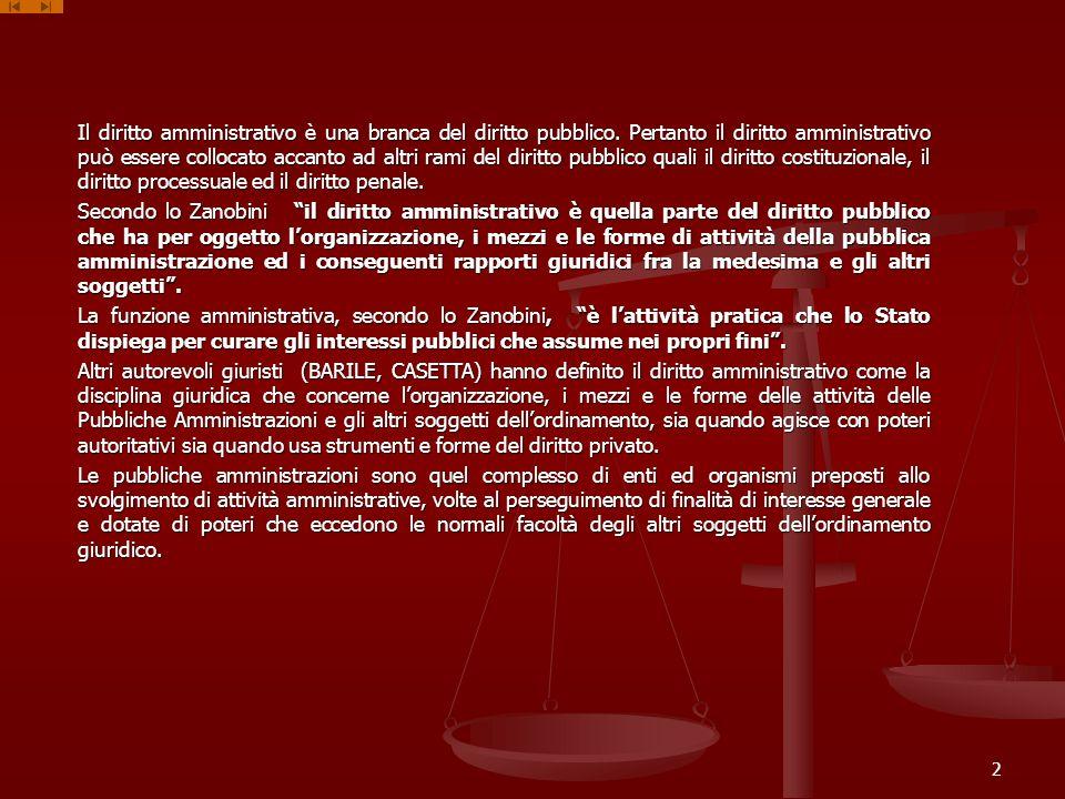 Il diritto amministrativo è una branca del diritto pubblico.