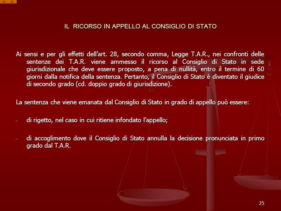 IL RICORSO IN APPELLO AL CONSIGLIO DI STATO Ai sensi e per gli effetti dellart. 28, secondo comma, Legge T.A.R., nei confronti delle sentenze dei T.A.