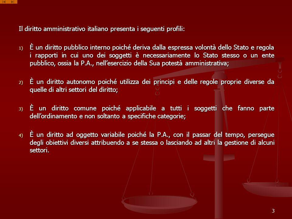 Il diritto amministrativo italiano presenta i seguenti profili: 1) È un diritto pubblico interno poiché deriva dalla espressa volontà dello Stato e re