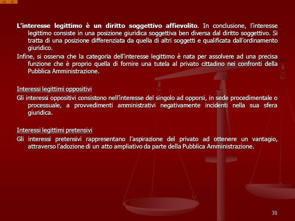 Linteresse legittimo è un diritto soggettivo affievolito. In conclusione, linteresse legittimo consiste in una posizione giuridica soggettiva ben dive