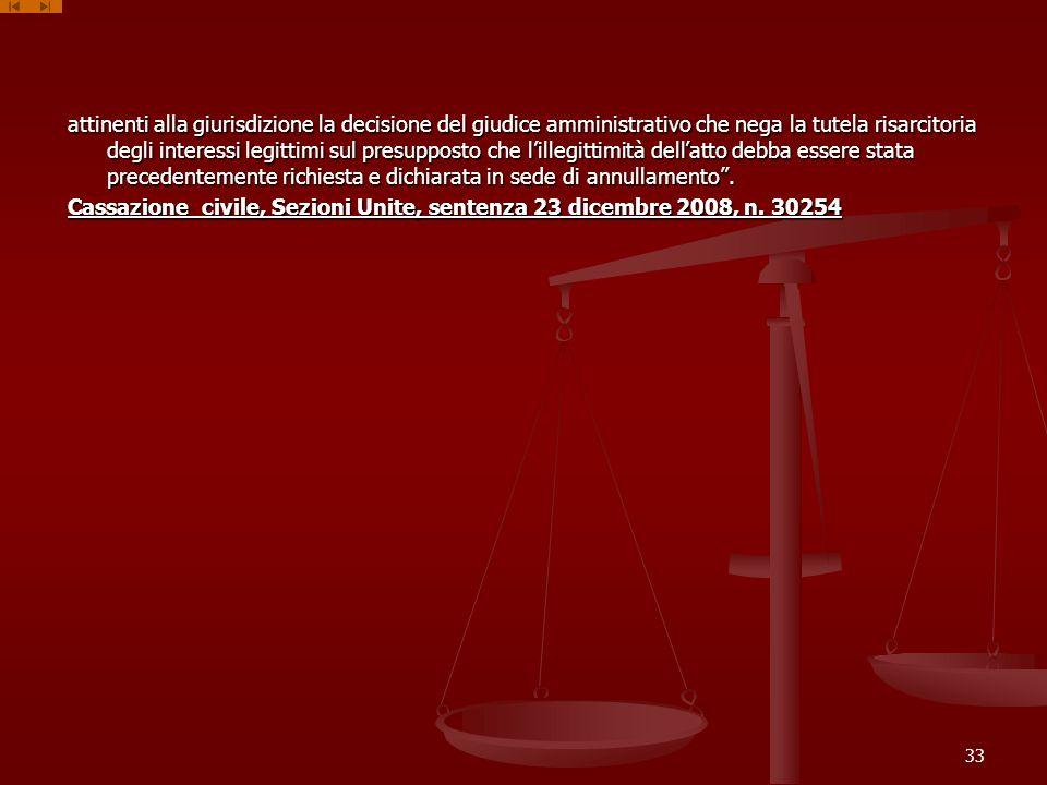 attinenti alla giurisdizione la decisione del giudice amministrativo che nega la tutela risarcitoria degli interessi legittimi sul presupposto che lillegittimità dellatto debba essere stata precedentemente richiesta e dichiarata in sede di annullamento.