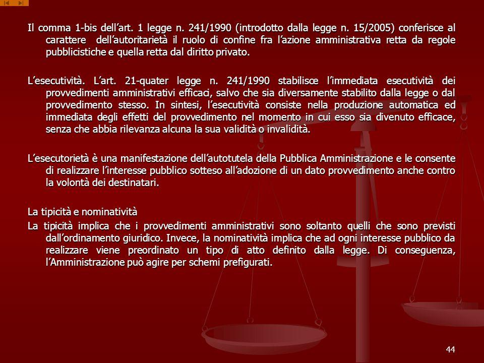 Il comma 1-bis dellart.1 legge n. 241/1990 (introdotto dalla legge n.