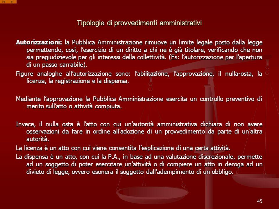 Tipologie di provvedimenti amministrativi Autorizzazioni: la Pubblica Amministrazione rimuove un limite legale posto dalla legge permettendo, così, le