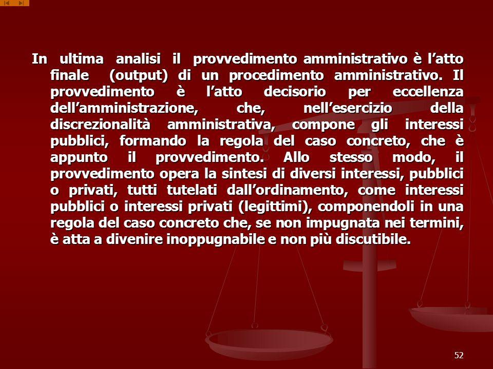 In ultima analisi il provvedimento amministrativo è latto finale (output) di un procedimento amministrativo. Il provvedimento è latto decisorio per ec