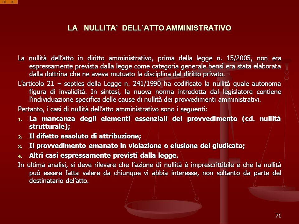 LA NULLITA DELLATTO AMMINISTRATIVO La nullità dellatto in diritto amministrativo, prima della legge n. 15/2005, non era espressamente prevista dalla l