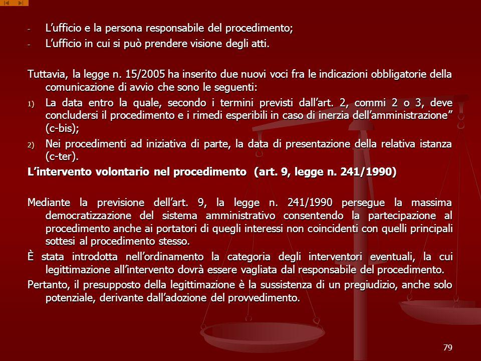 - Lufficio e la persona responsabile del procedimento; - Lufficio in cui si può prendere visione degli atti. Tuttavia, la legge n. 15/2005 ha inserito