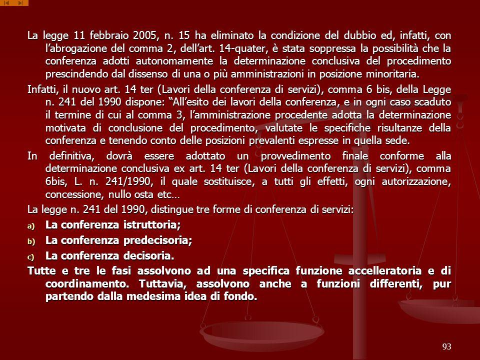 La legge 11 febbraio 2005, n. 15 ha eliminato la condizione del dubbio ed, infatti, con labrogazione del comma 2, dellart. 14-quater, è stata soppress