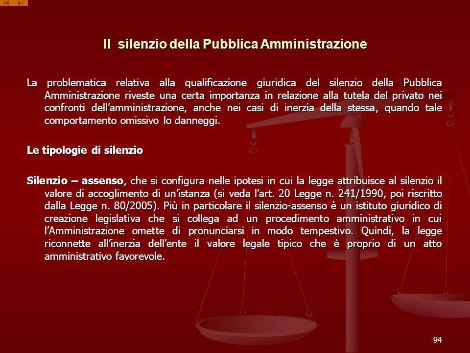 Il silenzio della Pubblica Amministrazione La problematica relativa alla qualificazione giuridica del silenzio della Pubblica Amministrazione riveste