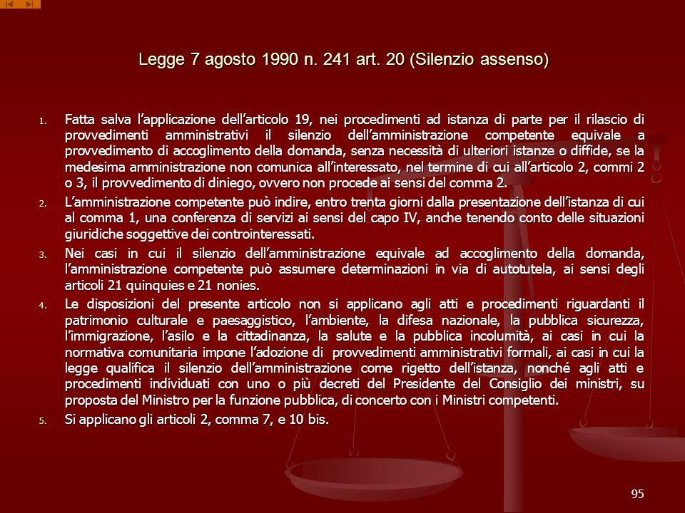 Legge 7 agosto 1990 n. 241 art. 20 (Silenzio assenso) 1. Fatta salva lapplicazione dellarticolo 19, nei procedimenti ad istanza di parte per il rilasc
