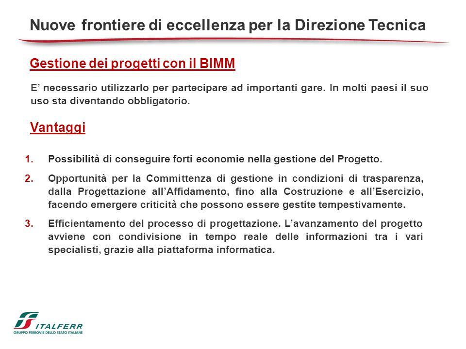 Nuove frontiere di eccellenza per la Direzione Tecnica Gestione dei progetti con il BIMM 1.Possibilità di conseguire forti economie nella gestione del