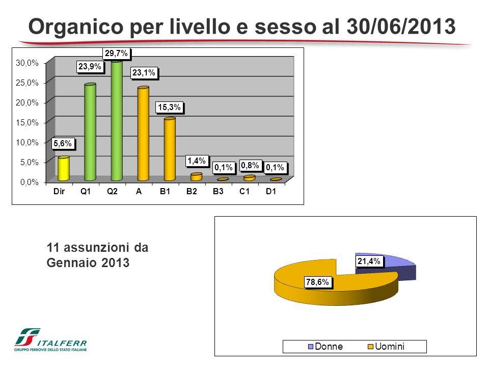 11 assunzioni da Gennaio 2013 Organico per livello e sesso al 30/06/2013
