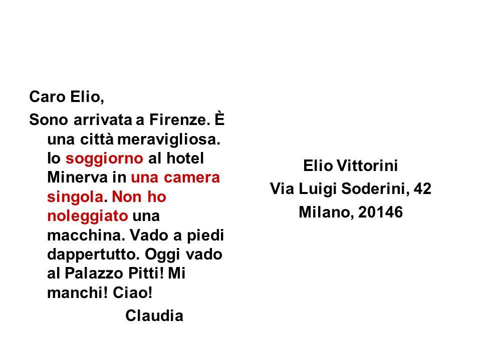 Caro Elio, Sono arrivata a Firenze. È una città meravigliosa. Io soggiorno al hotel Minerva in una camera singola. Non ho noleggiato una macchina. Vad