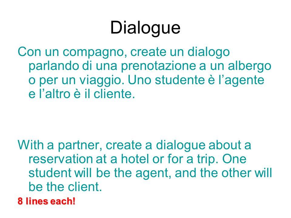 Dialogue Con un compagno, create un dialogo parlando di una prenotazione a un albergo o per un viaggio. Uno studente è lagente e laltro è il cliente.