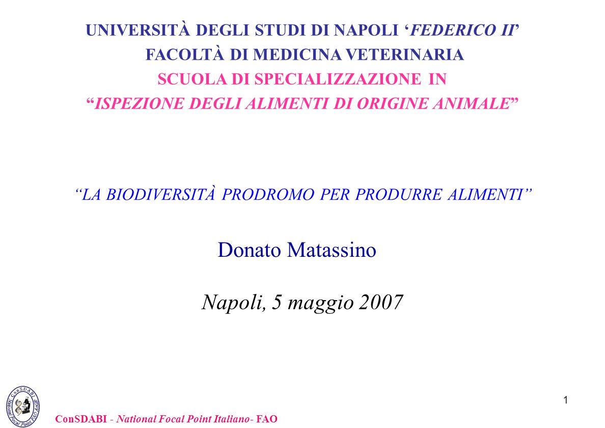 1 Napoli, 5 maggio 2007 Donato Matassino ConSDABI - National Focal Point Italiano- FAO LA BIODIVERSITÀ PRODROMO PER PRODURRE ALIMENTI UNIVERSITÀ DEGLI