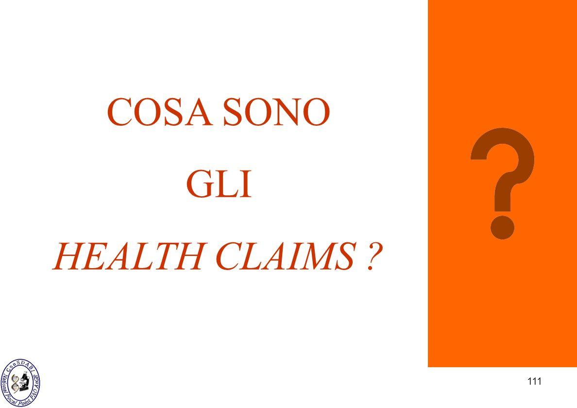 111 COSA SONO GLI HEALTH CLAIMS ?