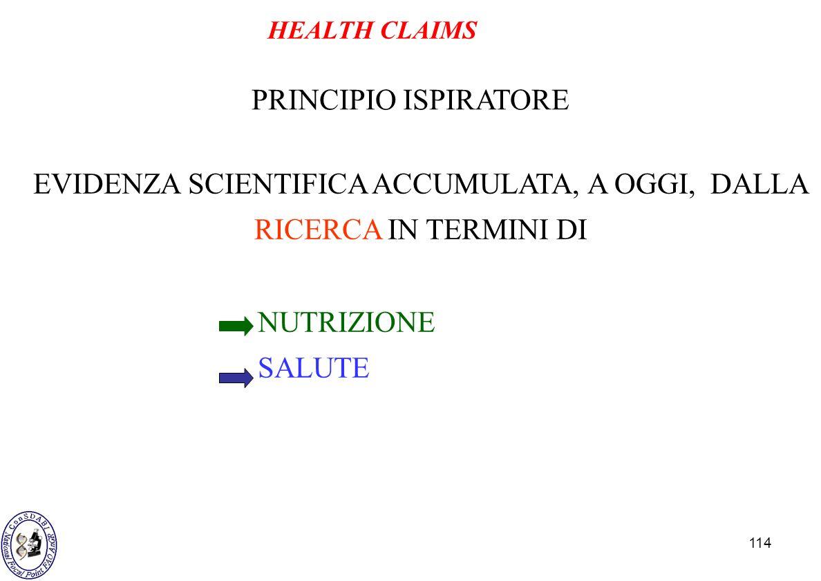 114 PRINCIPIO ISPIRATORE EVIDENZA SCIENTIFICA ACCUMULATA, A OGGI, DALLA RICERCA IN TERMINI DI NUTRIZIONE SALUTE HEALTH CLAIMS
