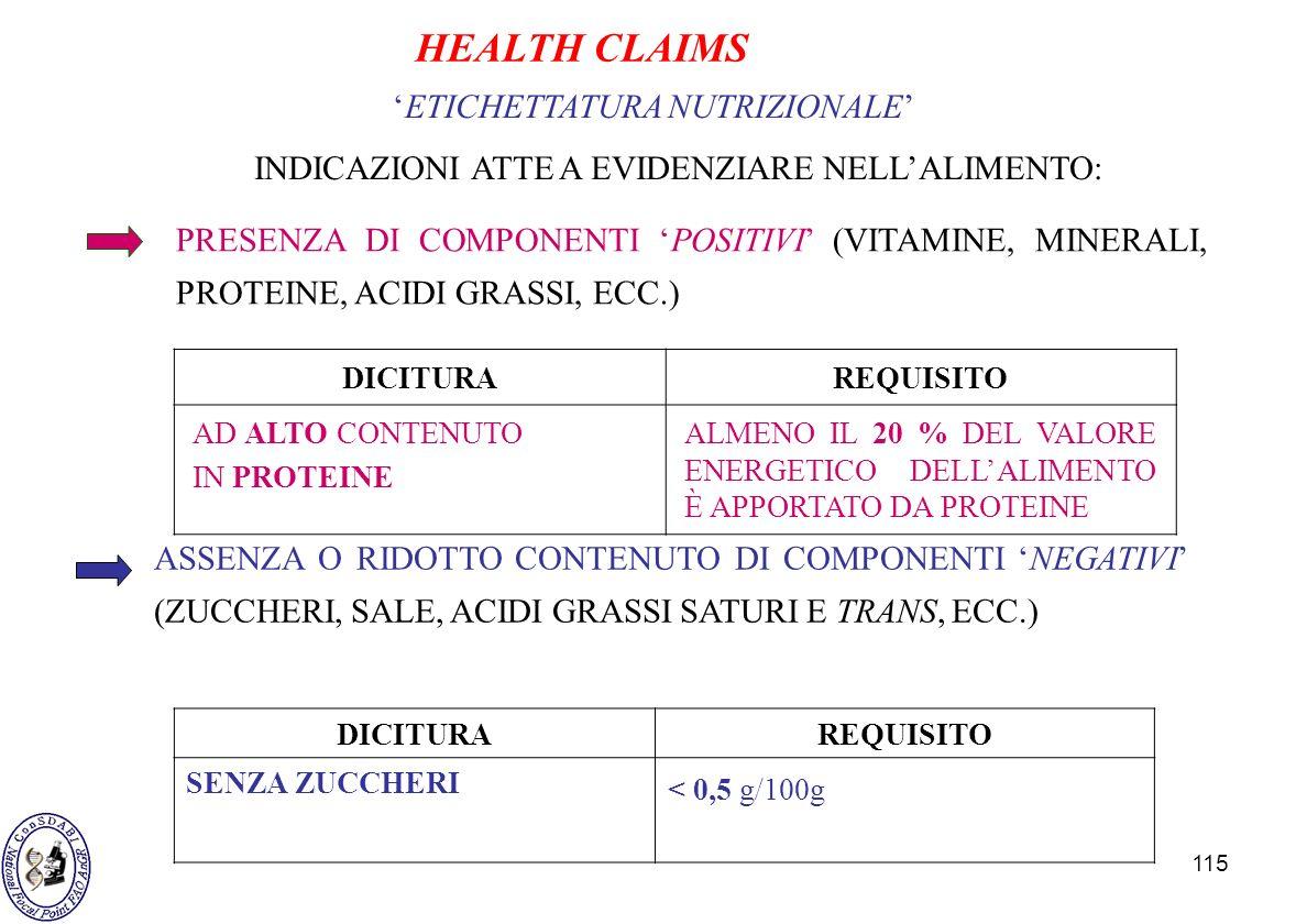 115 ETICHETTATURA NUTRIZIONALE INDICAZIONI ATTE A EVIDENZIARE NELLALIMENTO: PRESENZA DI COMPONENTI POSITIVI (VITAMINE, MINERALI, PROTEINE, ACIDI GRASS