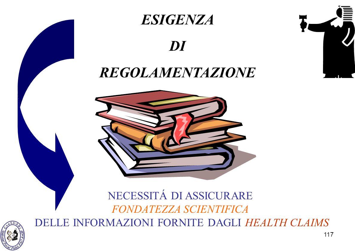 117 ESIGENZA DI REGOLAMENTAZIONE NECESSITÁ DI ASSICURARE FONDATEZZA SCIENTIFICA DELLE INFORMAZIONI FORNITE DAGLI HEALTH CLAIMS