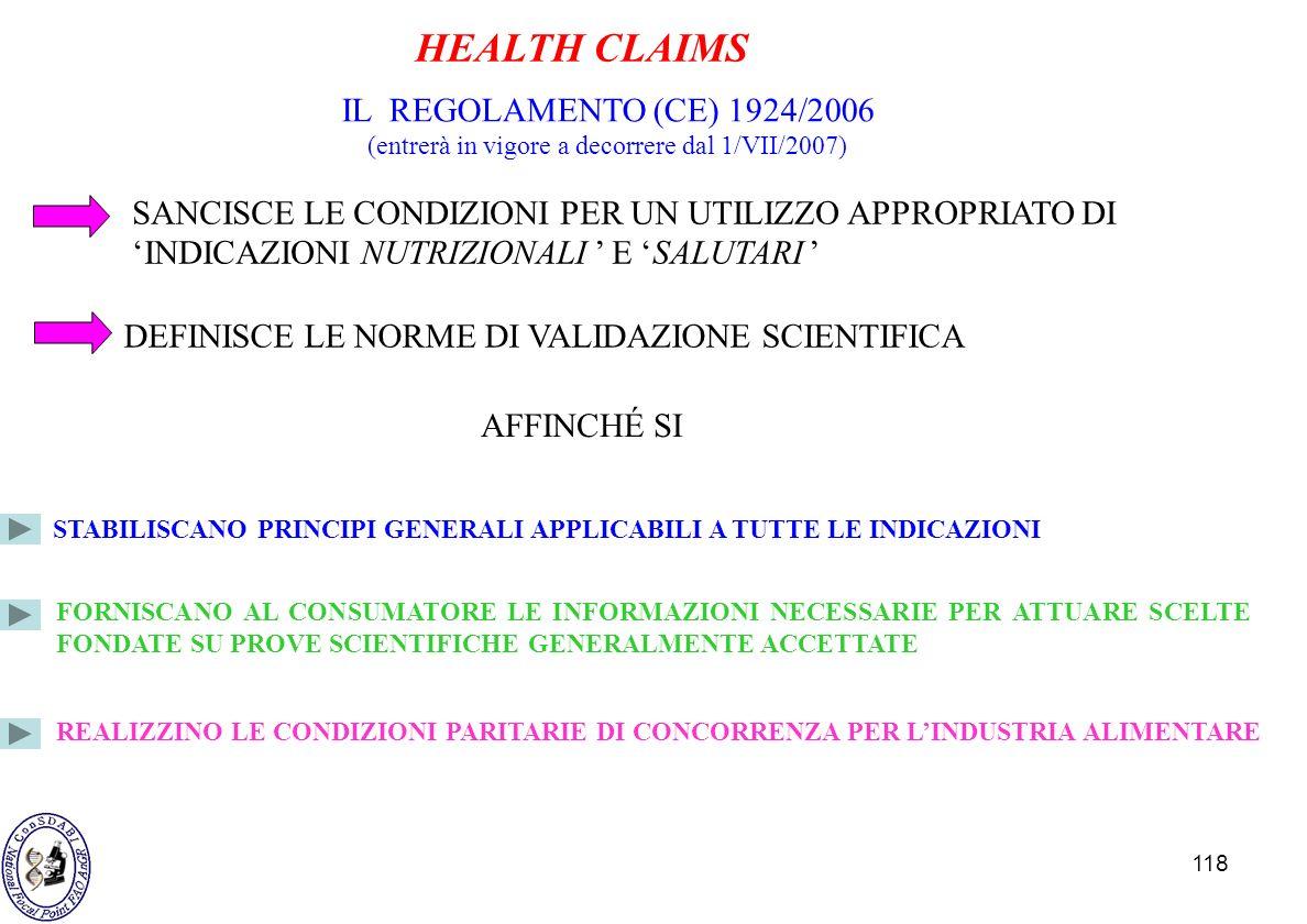 118 IL REGOLAMENTO (CE) 1924/2006 (entrerà in vigore a decorrere dal 1/VII/2007) DEFINISCE LE NORME DI VALIDAZIONE SCIENTIFICA AFFINCHÉ SI STABILISCAN