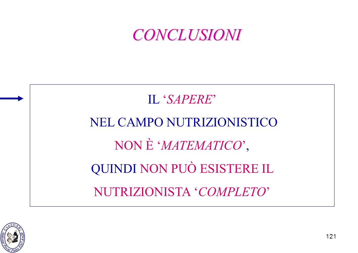 121 IL SAPERE NEL CAMPO NUTRIZIONISTICO NON È MATEMATICO, QUINDI NON PUÒ ESISTERE IL NUTRIZIONISTA COMPLETO CONCLUSIONI