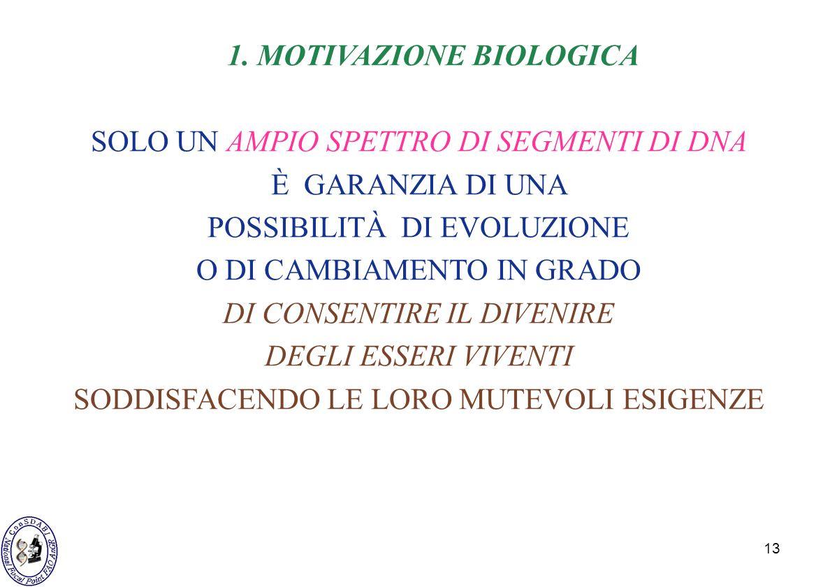 13 1. MOTIVAZIONE BIOLOGICA SOLO UN AMPIO SPETTRO DI SEGMENTI DI DNA È GARANZIA DI UNA POSSIBILITÀ DI EVOLUZIONE O DI CAMBIAMENTO IN GRADO DI CONSENTI